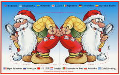 しおり。サンタさんのイラストのまわりには「しおり」という意味の言葉が各国語で書いてある