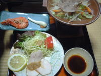鴨肉のサラダ、海老焼いたやつ、ジンギスカン